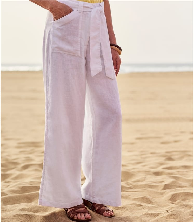 Womens Wide Leg Linen Trousers
