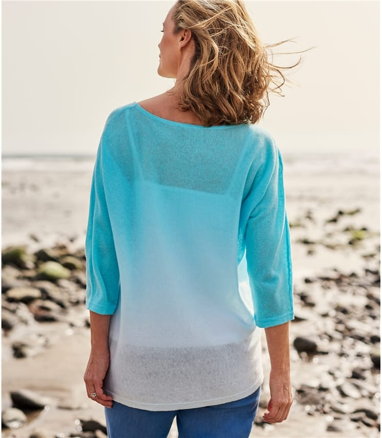 Womens Linen And Cotton Dip Dye Jumper