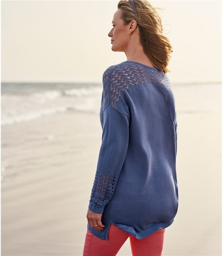 Womens Cotton & Viscose Pointelle Panel Jumper
