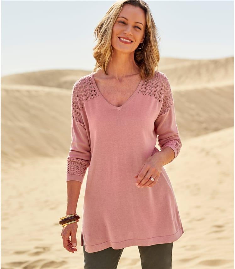 Womens Cotton & Viscose Pointelle Panel Jumper