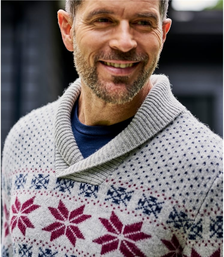 Mens Fairisle Shawl Collar Jumper