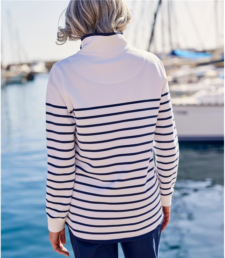 Sweat-shirt à col zippé - Femme - Pur Coton