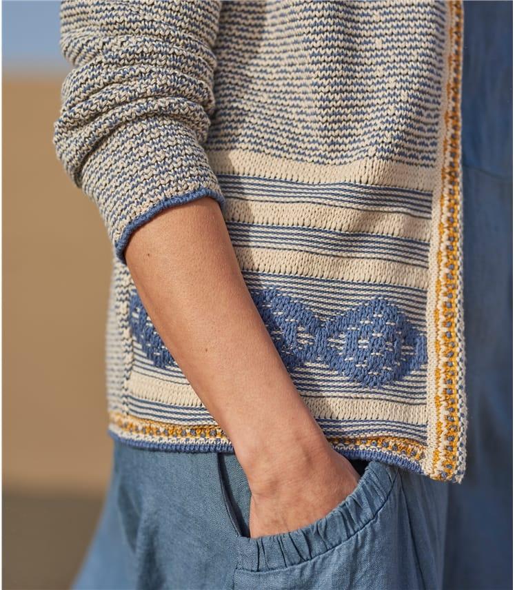 Cardigan à motif Aztèque - Femme - Pur Coton