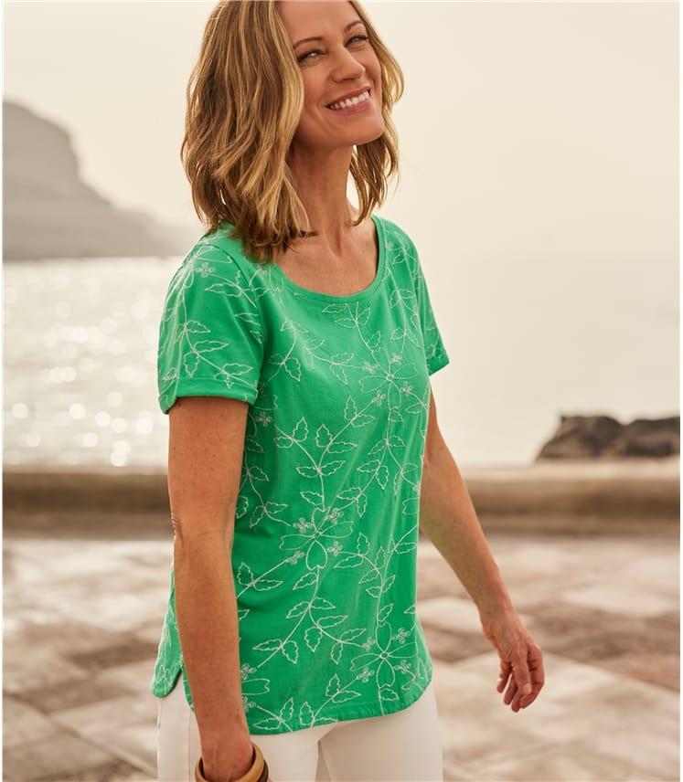 T-shirt brodé à manches courtes - Femme - Pur Coton