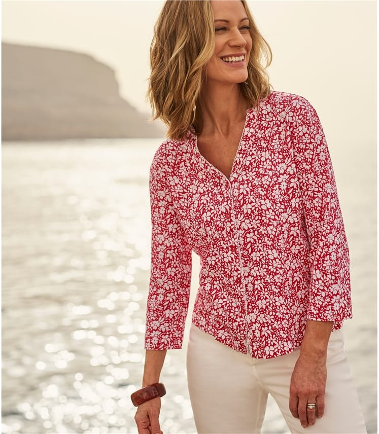 Womens Scallop Edge Printed Shirt