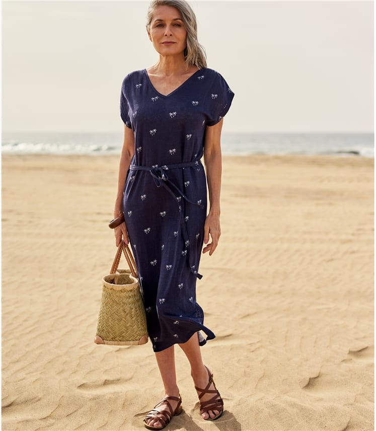 Womens Tie Waist Linen Dress