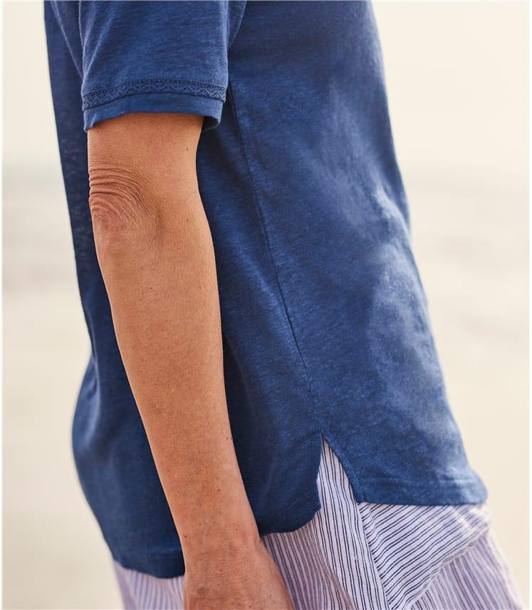 Womens Linen Jersey V Neck Top
