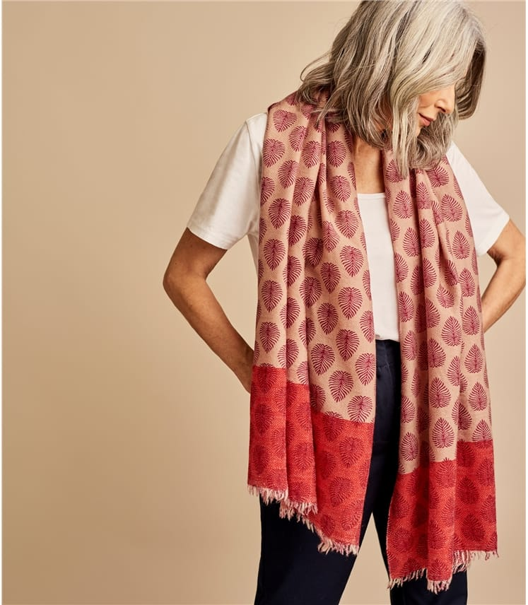Womens Pure Wool Woven Leaf Scarf