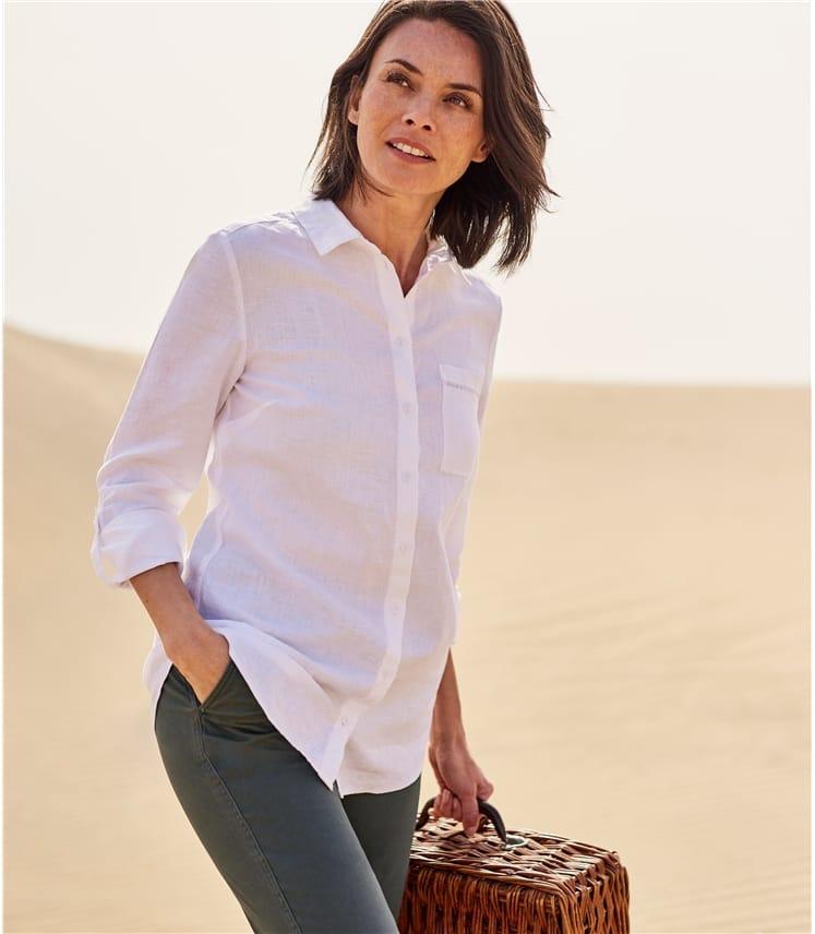 Womens Pocket Detail Linen Shirt