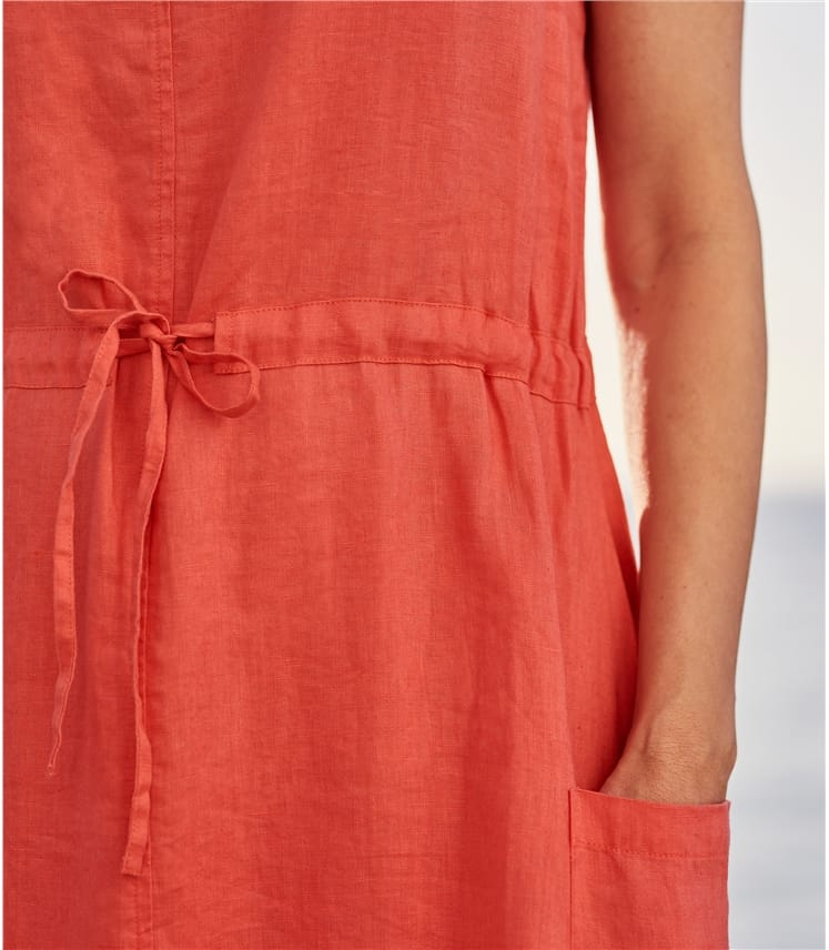Womens Linen Pocket Tie Waist Dress