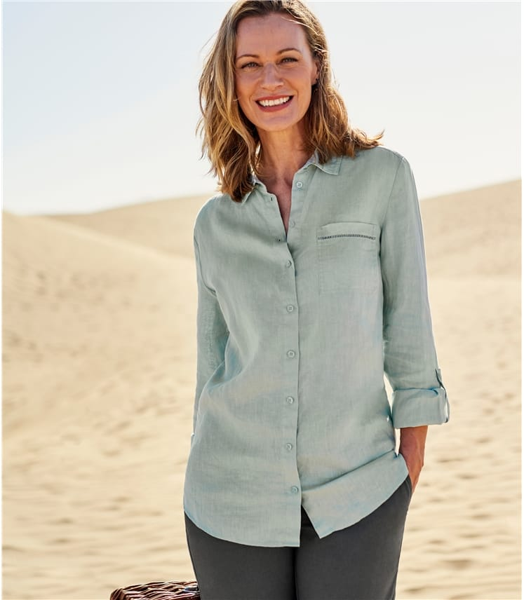 Womens Pocket Detail Linen Shirt