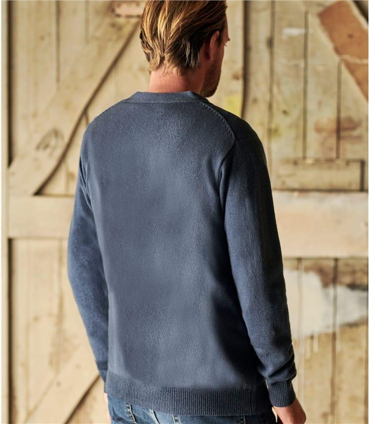 Strickjacke mit V-Ausschnitt aus Lammwolle für Herren