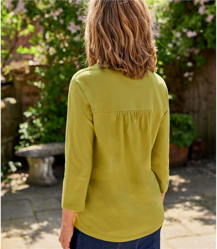Womens Embroidered Panel Notch Neck Top