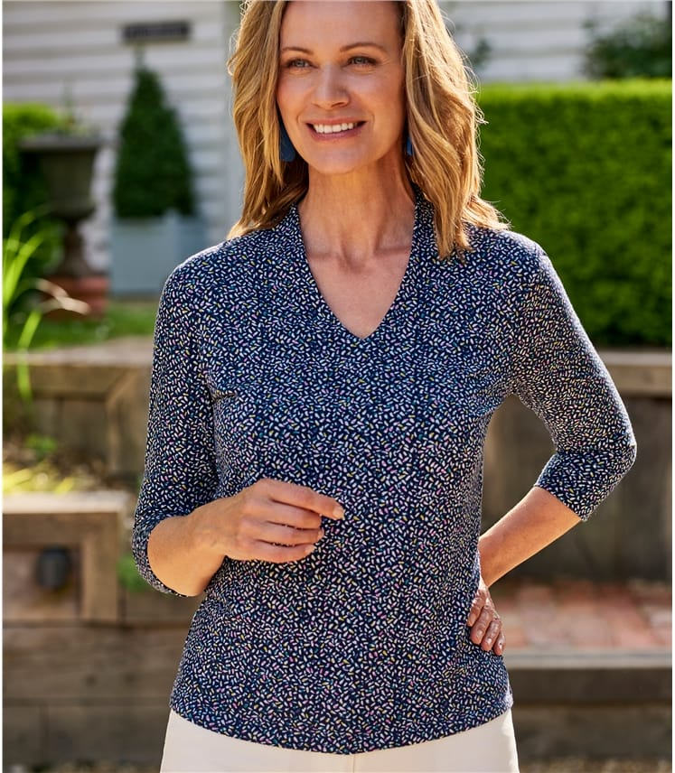Womens Jersey Printed High V Neck Top