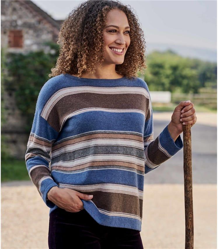 Womens Merino Wool Multi Stripe Boat Neck Jumper