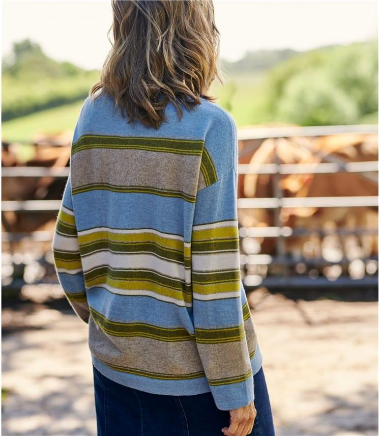 Merino Wool Multi Stripe Boat Neck Jumper