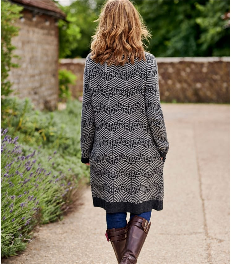 Womens Lambswool Tweedy Zig Zag Coatigan