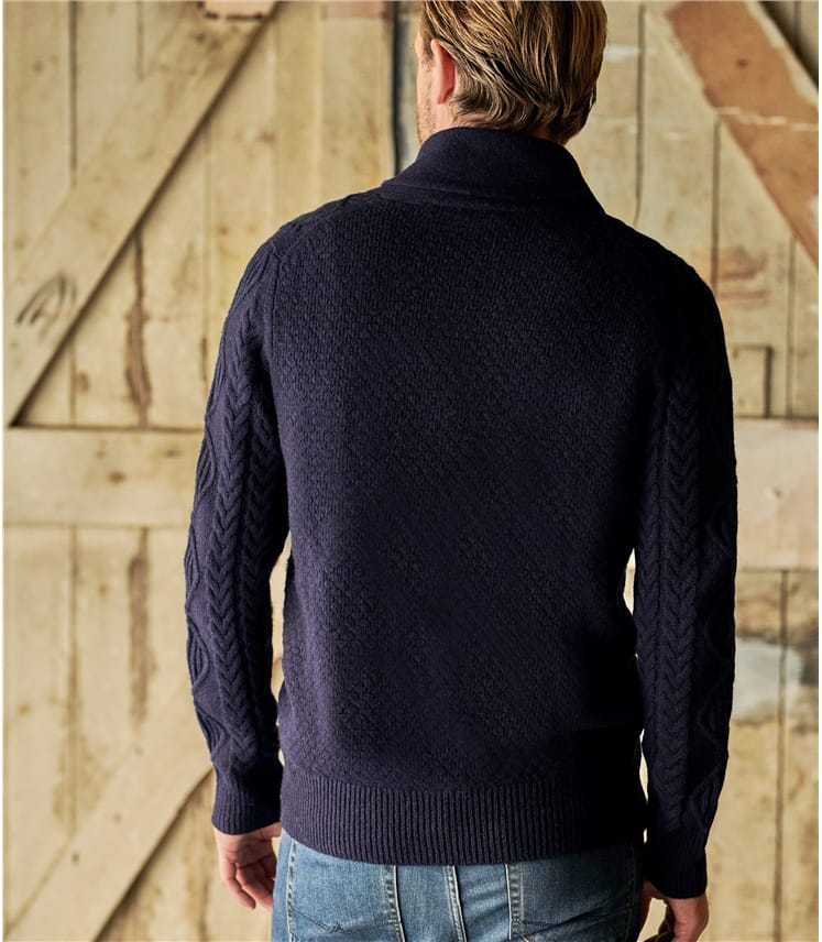 Lambswool Shawl Collar Cable Cardi