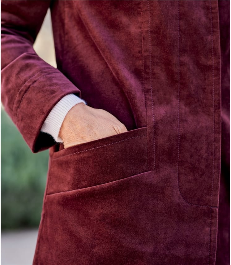 Funnel Neck Moleskin Coat