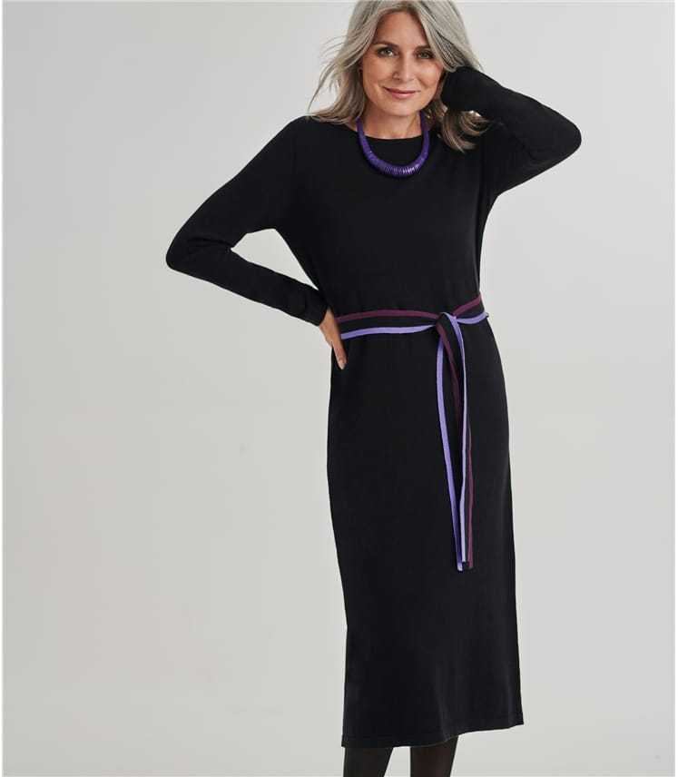 Knitted Contrast Belt Dress
