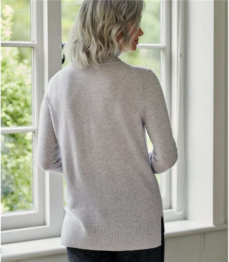 Luxurious Cashmere Boxy Polo Neck Jumper