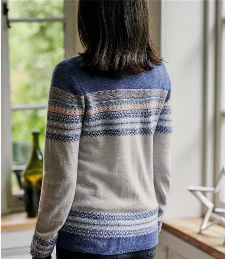 Womens Fairisle Crew Neck Cardigan