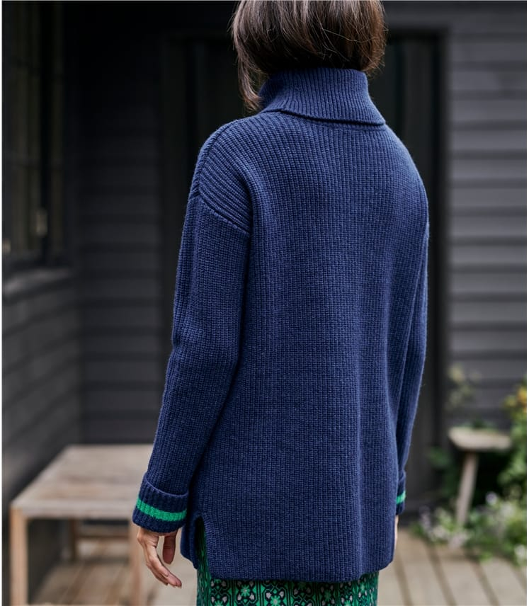 Womens Merino Wool Roll Neck Long Jumper