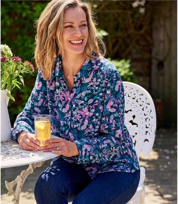 Bedruckte Bluse mit klassischem Hemdkragen