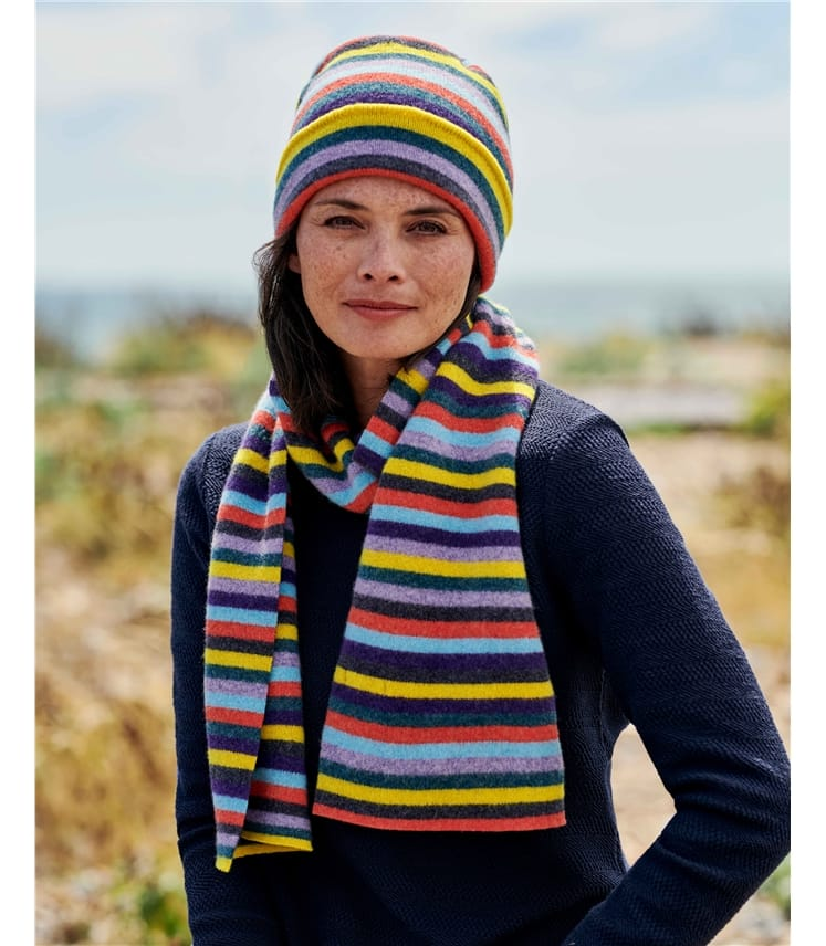 Lambswool Regular Rainbow Stripe Scarf