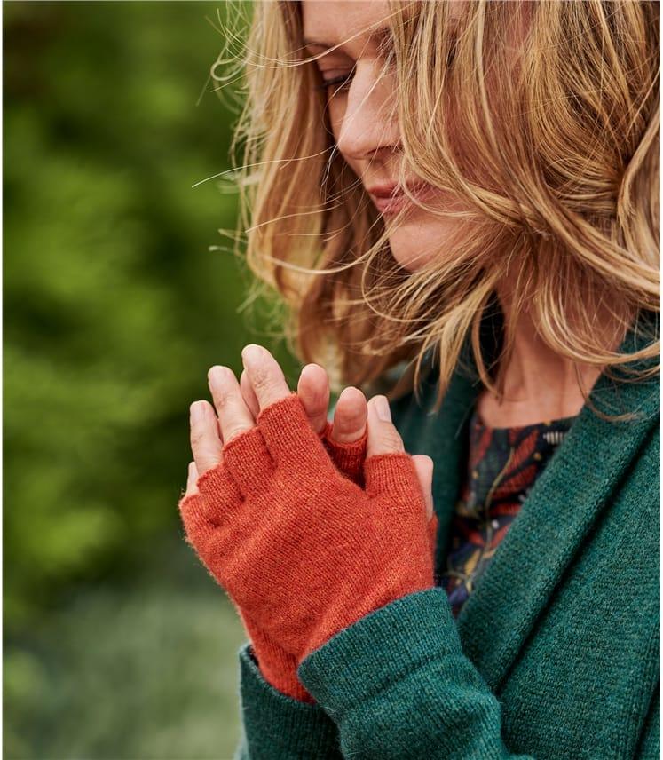 Womens Lambswool Fingerless Gloves