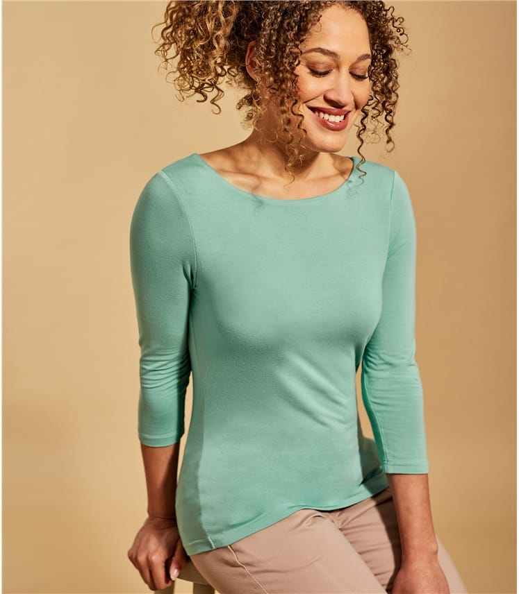 Womens Jersey Boat Neck 3/4 Sleeve T-Shirt