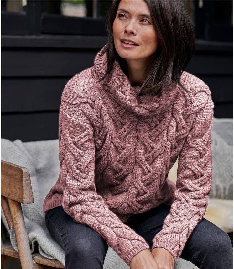 Merino Super Soft Cowl Cable Sweater