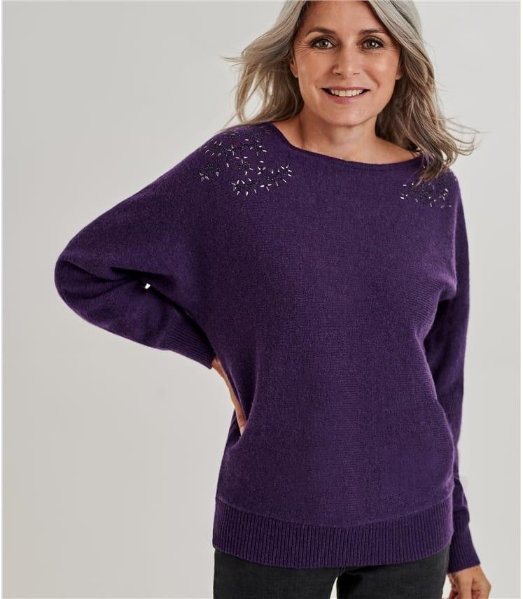 Womens Embellished Shoulder Detail Jumper