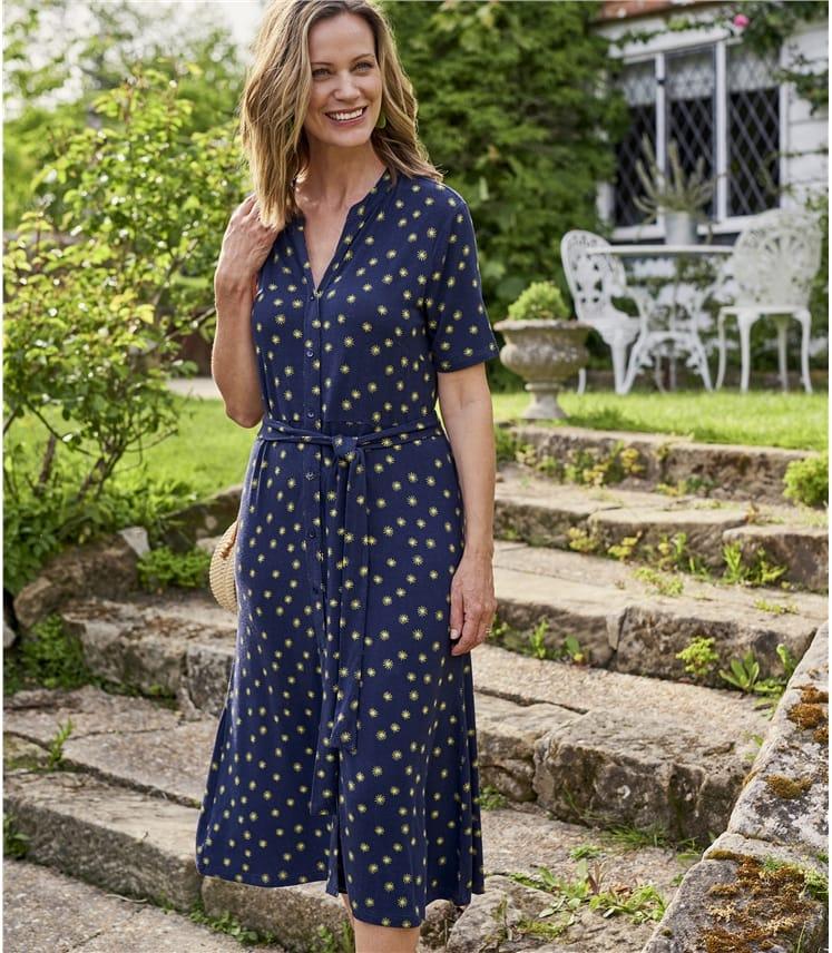 Womens Button Through Jersey Dress