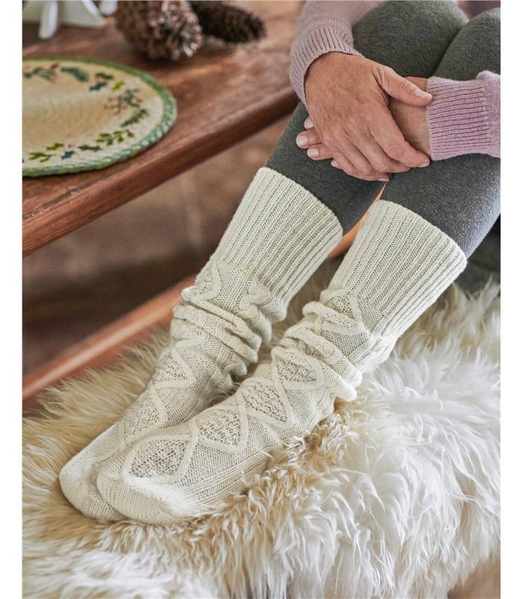 Chaussettes torsadées - Femme - Laine d'agneau