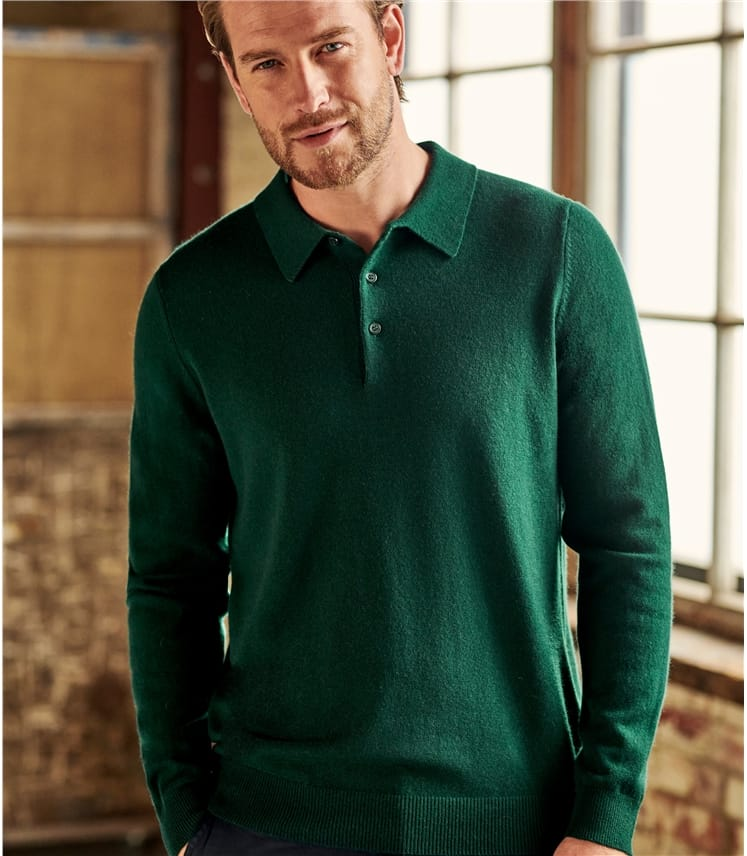 Mens Cashmere Merino Button Polo