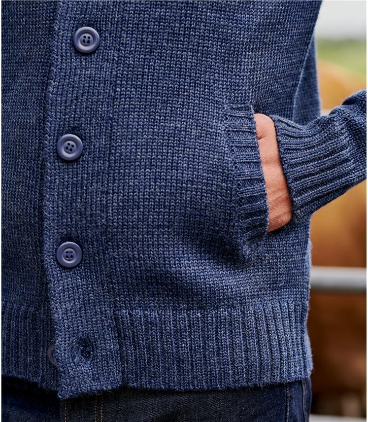 Mens Pure Wool Button Everyday Cardigan