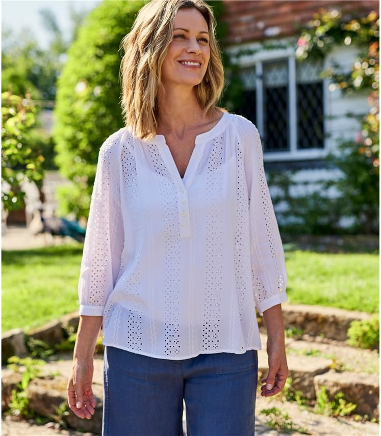 Womens Pretty Broderie Blouse