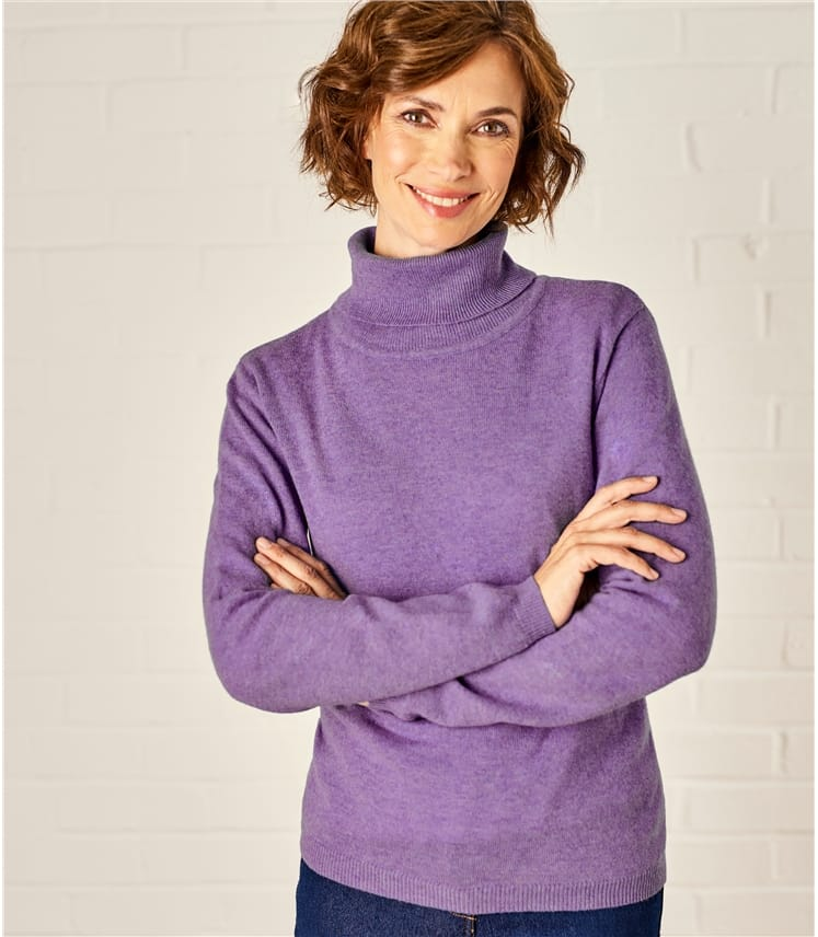 00ac7bf61ad Womens Cashmere and Merino Fitted Polo Neck Knitted Jumper
