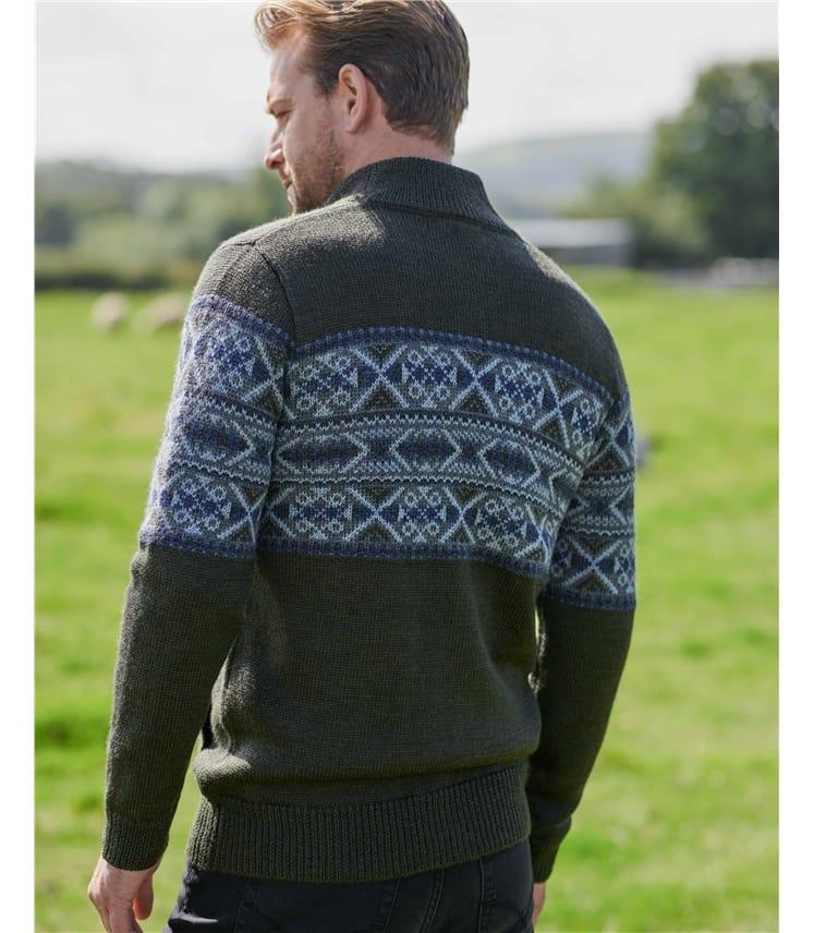 Strickjacke aus reiner Schurwolle mit Fair Isle-Muster und Reißverschluss