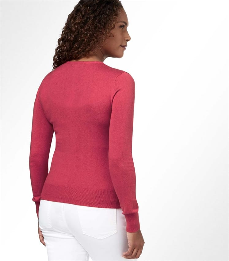 Womens Silk and Cotton Long Sleeve V Neck Jumper