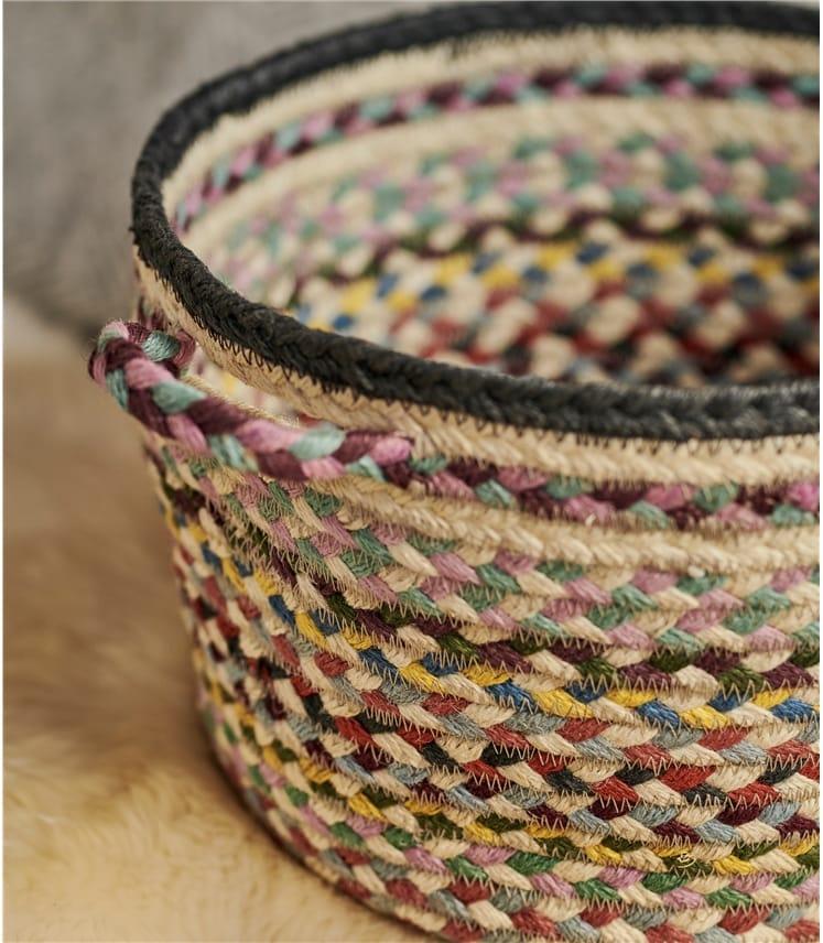 Organic Jute Multi Col Medium Basket