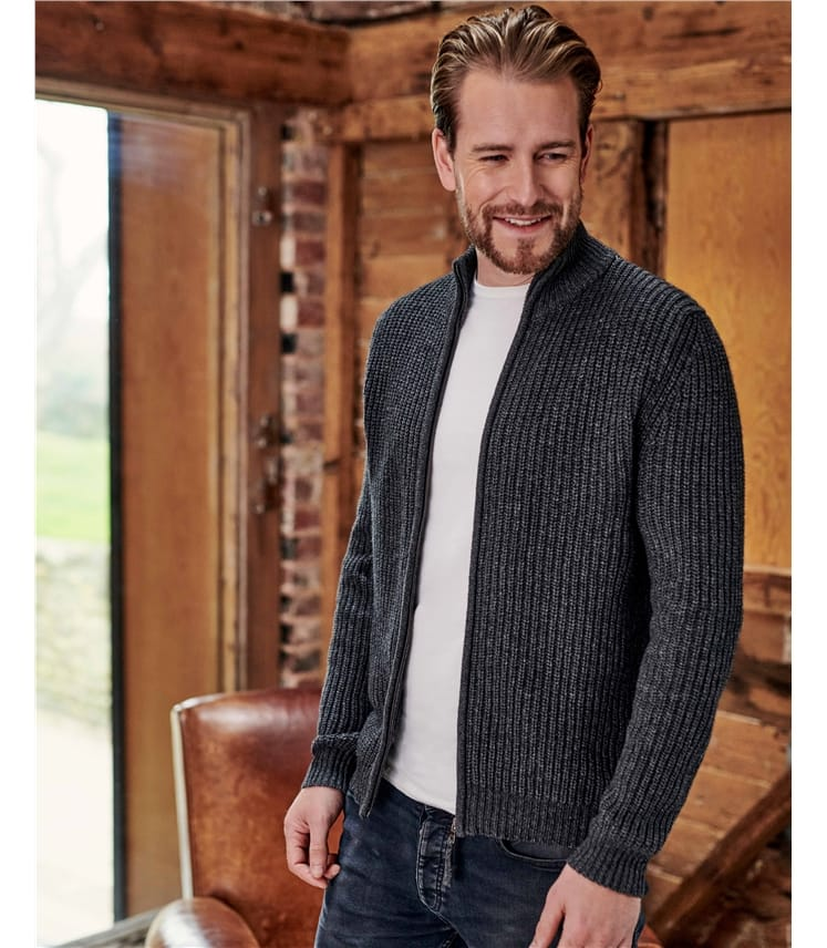 Wool Blend Zip Through Jacket