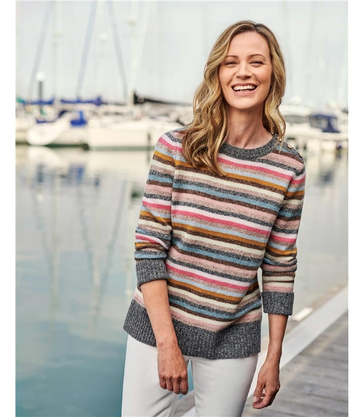 Side Button Marl Stripe Sweater