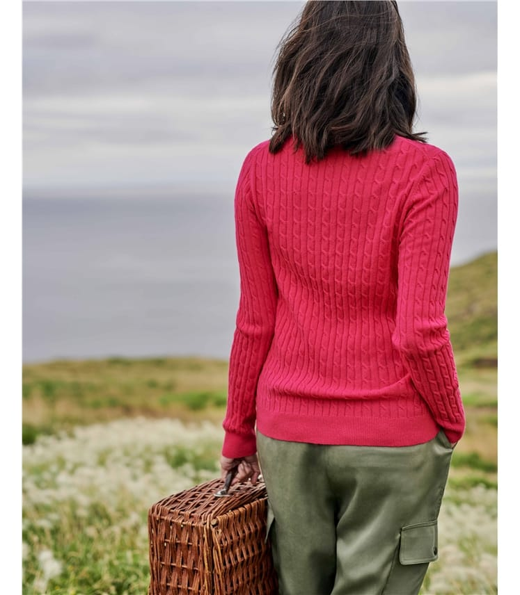 Cashmere Merino Cable Crew Neck Sweater