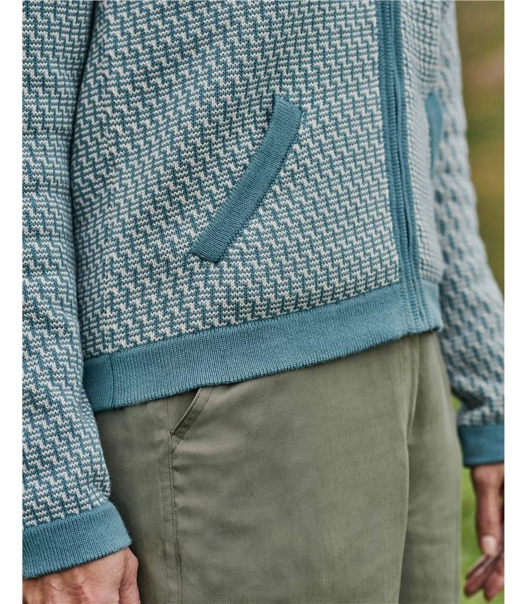 Organic Cotton Patterned Zip Up Cardigan
