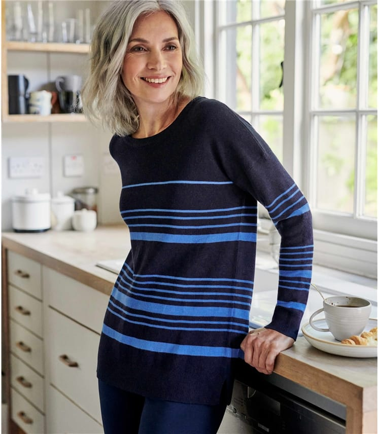 Womens Cotton Blend Relaxed Stripe Jumper