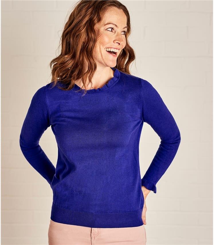 Womens Frill Neck Long Sleeve Jumper