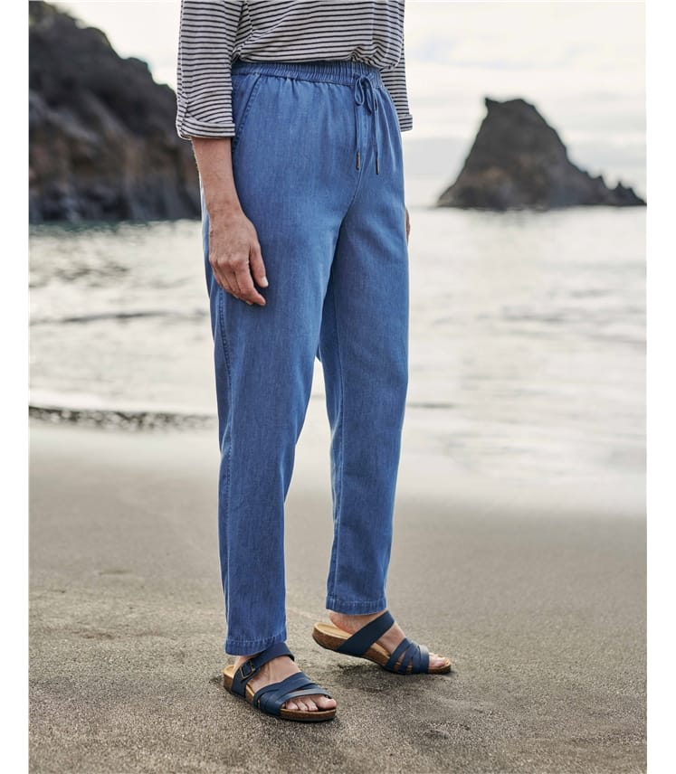 Chambray Tapered Leg Trousers