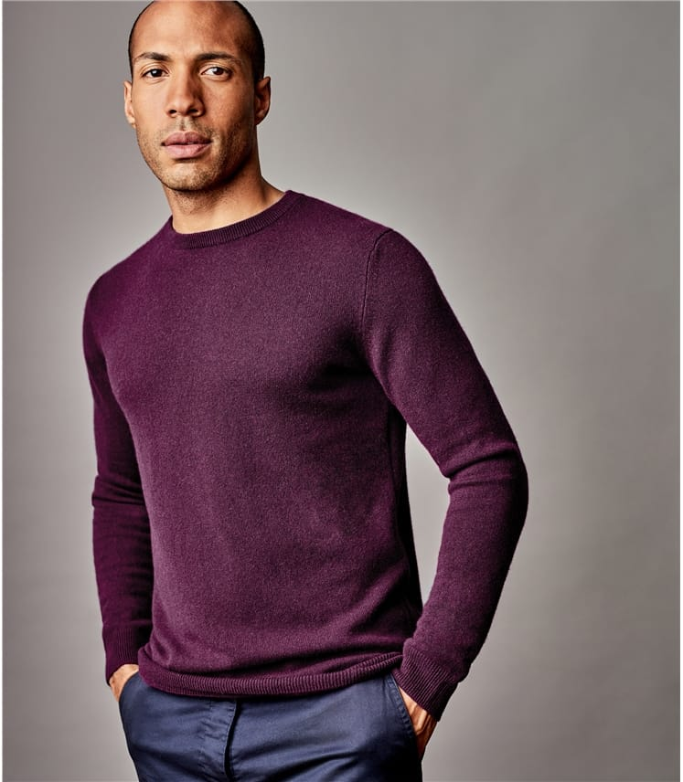 Mens Pure Cashmere Crew Neck Sweater